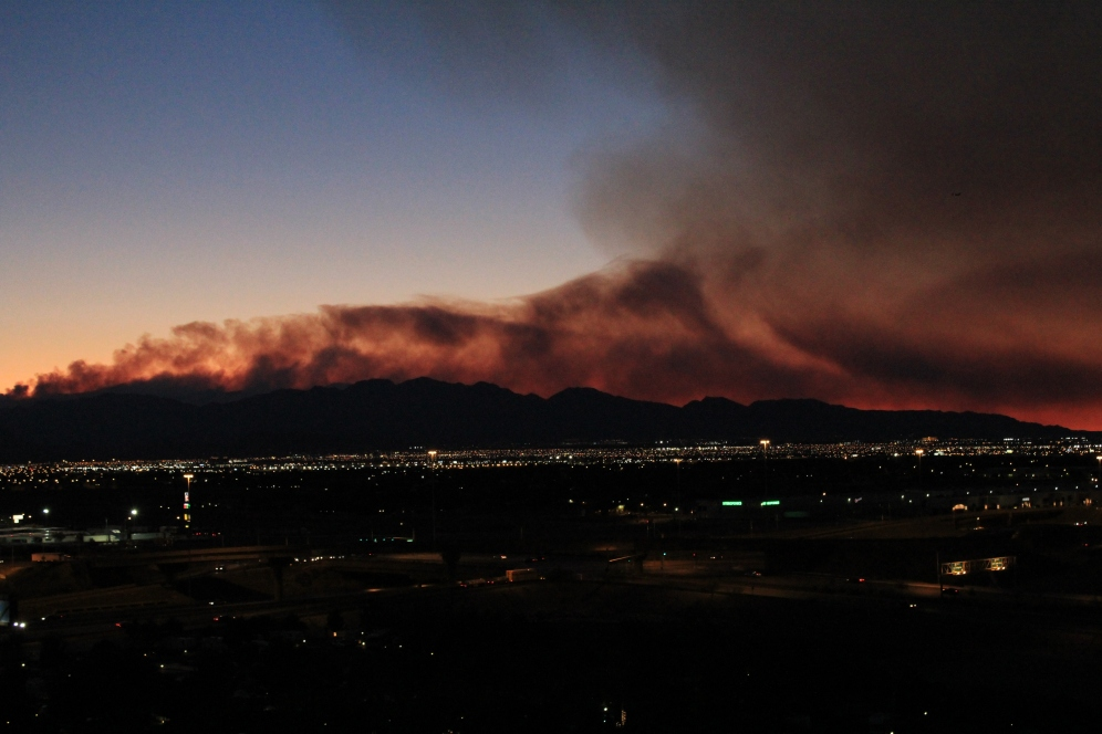 Smoke Coming off Spring Range over Vegas Valley
