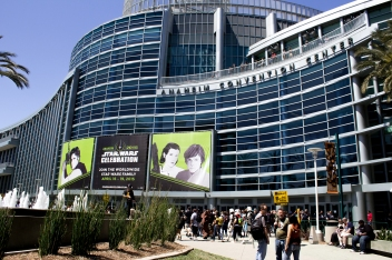 Anaheim Convention Center with Celebration Banner